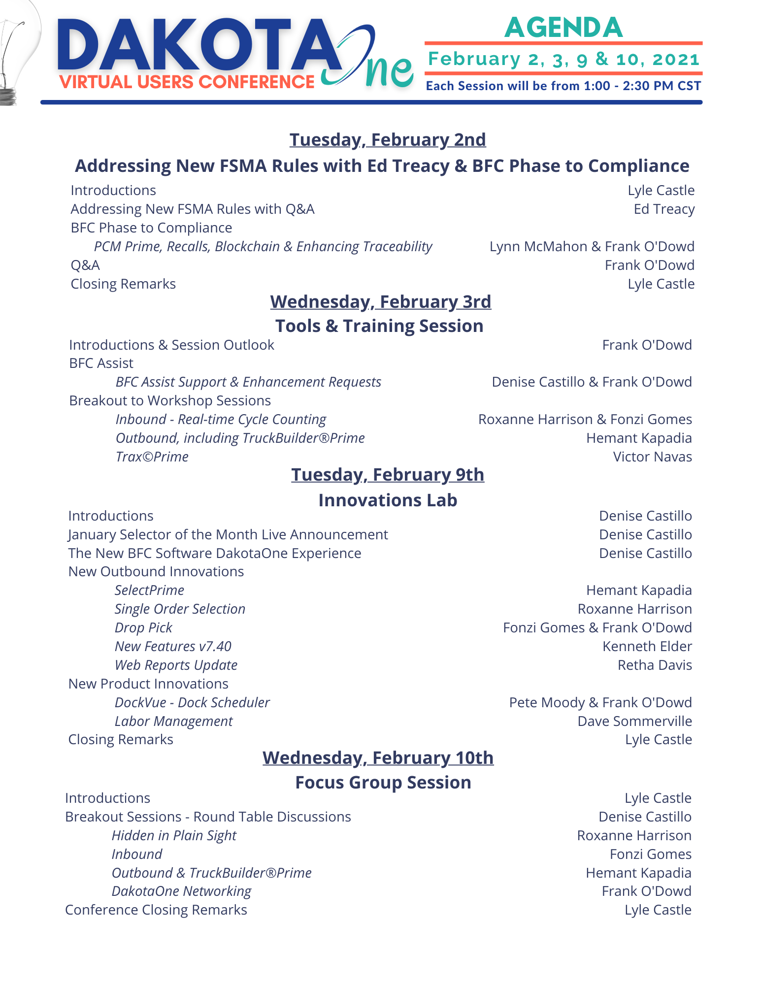 2021 DakotaOne Virtual Conference Agenda v2